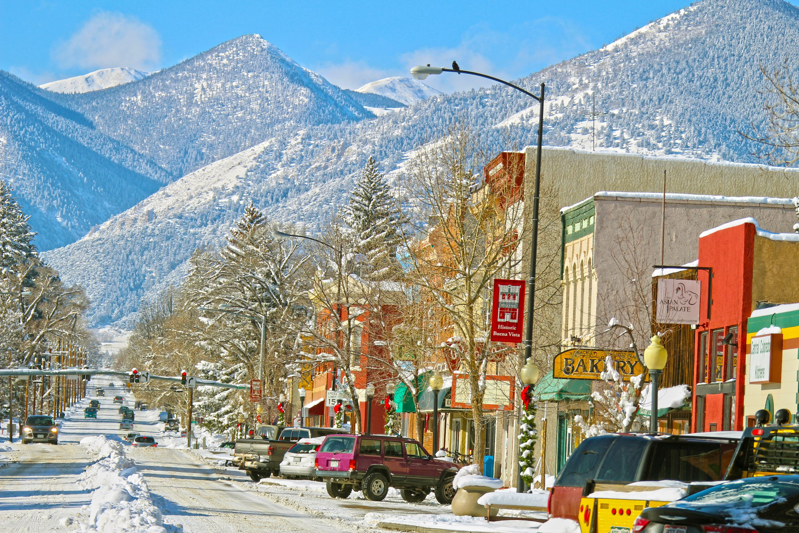 Winter and Holiday Season in downtown Buena Vista, Colorado