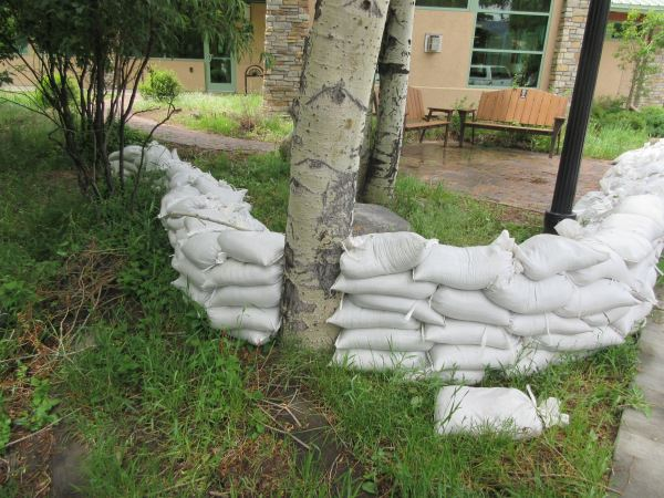sandbags near library